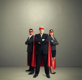 Portrait of three superheroes Stock Photo