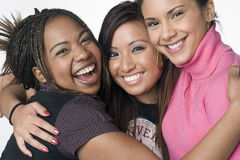 Portrait of three teenage mixed race girls royalty free stock photo