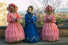 Portrait of three women with carnival costumes. Portrait of three women with beautiful carnival costumes Royalty Free Stock Images
