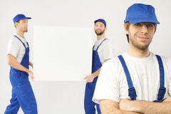 Portrait of three working builders Stock Photography
