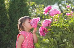 Portrait of a three year old girl playing in the garden. Royalty Free Stock Images