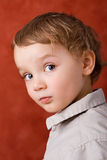 Portrait of a three years old. Blond caucasian boy against a red background Stock Photos
