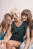 Portrait of Three Young Caucasian Girlfriends With Teeth Braces( Stock Images