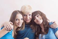 Portrait of Three Young Caucasian Ladies Wearing Dental Bracket Stock Image