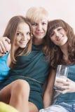 Portrait of Three Young Caucasian Ladies Wearing Dental Bracket Royalty Free Stock Photo
