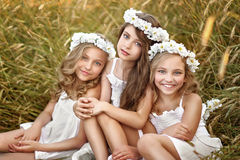 Portrait of three young girlfriends Royalty Free Stock Images