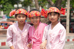 Portrait of three young girls on parades in Poy-Sang-Long Festiv Royalty Free Stock Photo