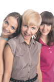 Portrait of Three Young Ladies with Teeth Braces Together Royalty Free Stock Images