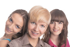 Portrait of Three Young Ladies with Teeth Braces Together Stock Image