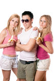 Portrait of three young people royalty free stock photo