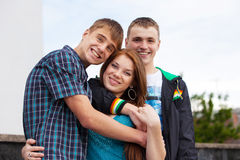 Portrait of three young teenagers Royalty Free Stock Photos