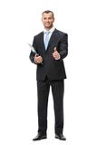 Portrait of thumbing up businessman with folder Royalty Free Stock Photography