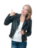 Portrait of  thumbs up attractive blonde isolated on a white bac Royalty Free Stock Photography