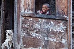 Portrait of Tibetan boy, Nepal Royalty Free Stock Image