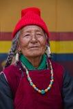 Portrait tibetan buddhist old woman during Hemis Festival at Ladakh, North India Royalty Free Stock Photos