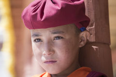 Portrait Tibetan Buddhist young monk in Hemis monastery, Ladakh, North India Royalty Free Stock Photography