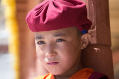 Portrait Tibetan Buddhist young monk in Hemis monastery, Ladakh, North India Royalty Free Stock Photography