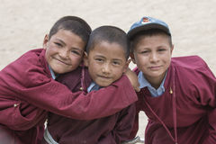 Portrait of Tibetan happy boys in Druk White Lotus School. Ladakh, India Stock Photo