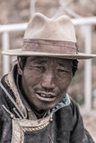 Portrait of a Tibetan man smiling stock images