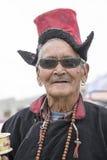Portrait tibetan old man on the street in Leh, Ladakh. India. LEH, INDIA - JUNE 24, 2015: Unidentified tibetan old man on the street in Leh, Ladakh Royalty Free Stock Image