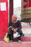 Portrait tibetan old man on the street in Leh, Ladakh. India Royalty Free Stock Image