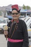 Portrait tibetan old man on the street in Leh, Ladakh. India. LEH, INDIA - JUNE 24, 2015: Unidentified tibetan old man on the street in Leh, Ladakh Royalty Free Stock Photography