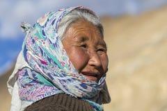 Portrait tibetan woman in Leh. Ladakh, India Stock Photos