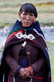 Portrait of Tibetan woman in national clothes Stock Photos