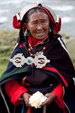 Portrait of Tibetan woman in national clothes Stock Images