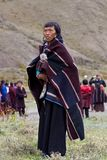 Portrait of Tibetan woman in national clothes Stock Photography