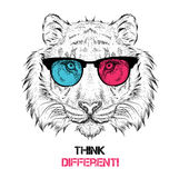 Portrait of the tiger in the colored glasses. Think different. Vector illustration. Royalty Free Stock Photo