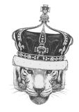 Portrait of Tiger with crown. Hand-drawn illustration Royalty Free Stock Photo
