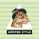Portrait tiger hipster style green geometric background Royalty Free Stock Photo