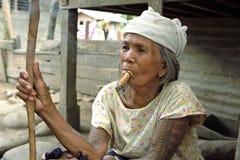 Portrait of Tinglayan very old, smoking, woman Stock Photos