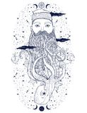 Portrait tiré par la main de barbe de marin de hippie de vintage Vieux marin de tatoo L'homme est un art idéal pour la copie, liv illustration de vecteur