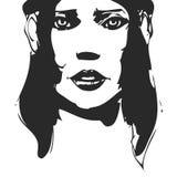 Portrait tiré par la main noir et blanc de femme encre Photo libre de droits