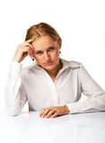Portrait of an tired business woman. Isolated over white background Stock Image