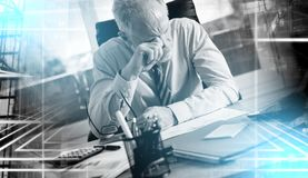 Portrait of tired businessman; multiple exposure stock photography