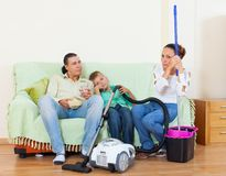Portrait of tired family Stock Images