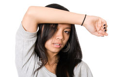 Portrait of tired girl with a hand on a forehead Royalty Free Stock Photography