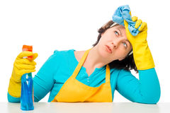 Portrait of tired of household chores housewife Royalty Free Stock Photography