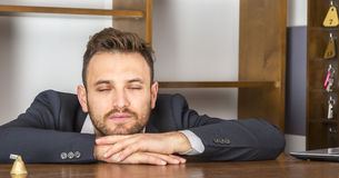 Portrait of a Tired Receptionist Stock Photography