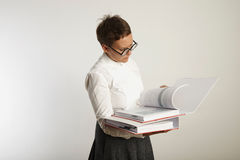 Portrait of a tired teacher with binders royalty free stock photography