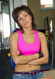 Portrait of tired of woman at the gym Stock Image