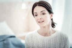 Portrait of tired woman that looking forward royalty free stock images