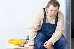Portrait of tired worker Royalty Free Stock Photography