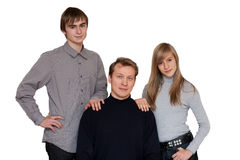 Portrait to families. Son, daughter and father on white background stock photography