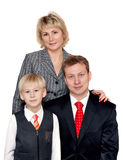 Portrait to families. Husband, wife and son on white background stock photography