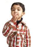 Portrait of a Toddler Blowing a Flying Kiss. Isolated, White stock photos