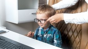 cute childs office chair. Portrait Of Cute Toddler Boy Sitting In Office Chair And Wearing Eyeglasses Royalty Free Stock Photography Childs U